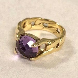 Purple Sterling Silver Ring Gold Tone 925 Size 6.5